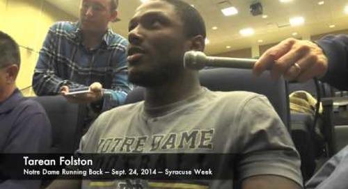 Notre Dame RB Tarean Folston - 9/24/14 - Syracuse
