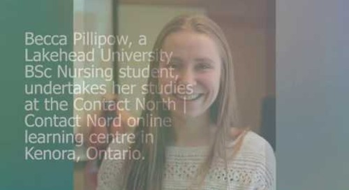 Online learning - Becca Pillipow, Kenora, Lakehead U. Nursing student