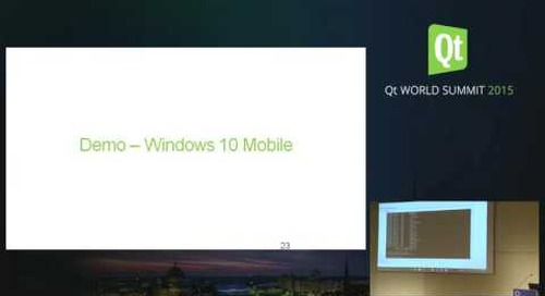 QtWS15- Developing for Windows 10 With Qt, Maurice Kalinowski, The Qt Company