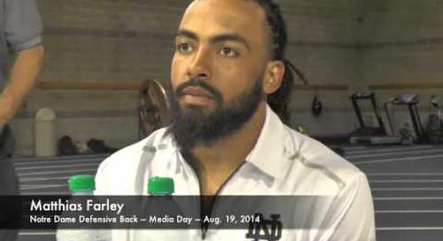 Notre Dame DB Matthias Farley - Media Day 2014