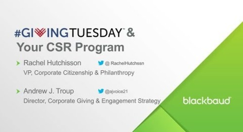 Blackbaud Webinar: #GivingTuesday & Your CSR Program