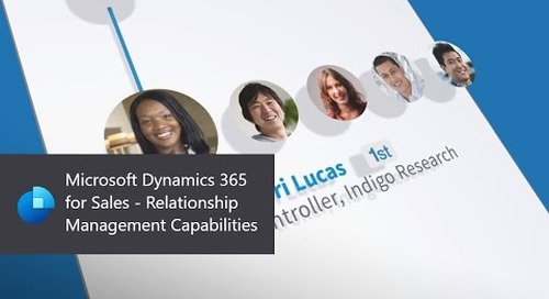 Microsoft Dynamics 365 for Sales - Relationship Management Capabilities