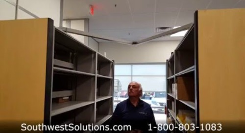 Powered High Density Shelving Features LED Safety Sweep Battery Backup Pantographs
