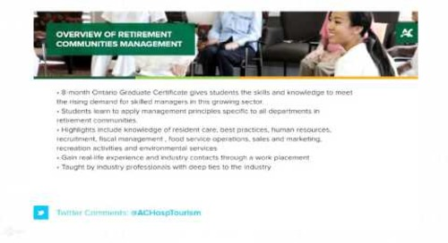 Retirement Communities Management - Webinar - Algonquin College