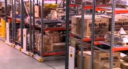 Rolling Compact Pallet Racks on Tracks   Condense Warehouse Storage Space