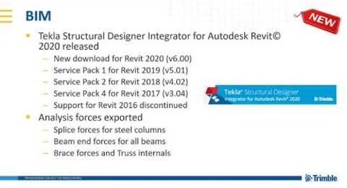 Integrator for Autodesk Revit© 2020 in Tekla Structural Designer 2019i