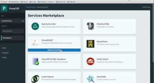 Pivotal Cloud Foundry Cloud SaaS Marketplace Preview