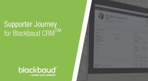 Supporter Journey Customisation for Blackbaud CRM