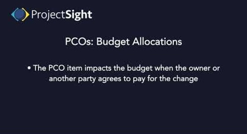 ProjectSight Training - Potential Change Orders