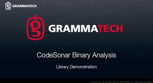 CodeSonar Binary Analysis: Library Demonstration