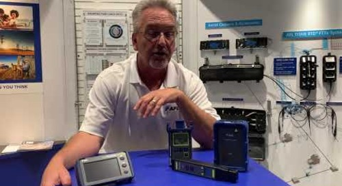 Mike talking test and inspection equipment at Fiber Connect.
