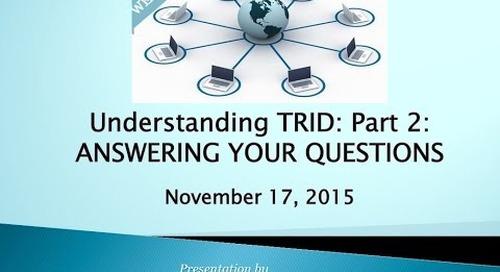 Part 2: TRID Q&A 11.17.2015