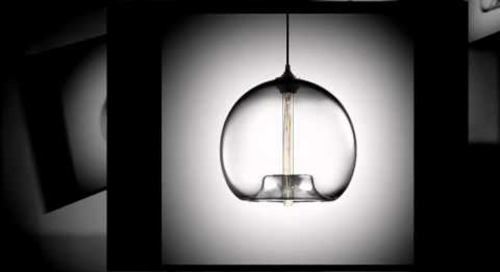 Modern Blown Glass Crystal Pendant Lighting by Niche Modern
