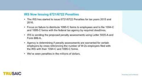 What are 6721 6722 ACA Penalty Assessments - Webinar - Trusaic