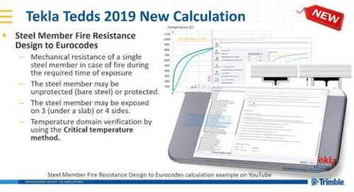 Steel member fire resistance design calculation in Tekla Tedds 2019