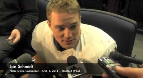 Notre Dame LB Joe Schmidt - 10/1/14 - Stanford