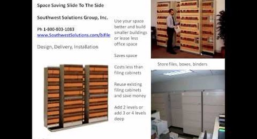 Space saving slide to the side shelving saves floorspace