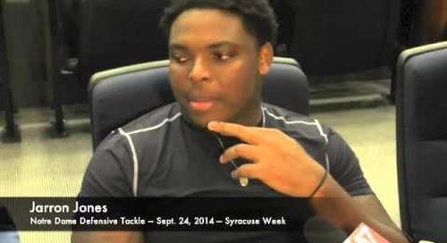 Notre Dame DT Jarron Jones - 9/24/14 - Syracuse