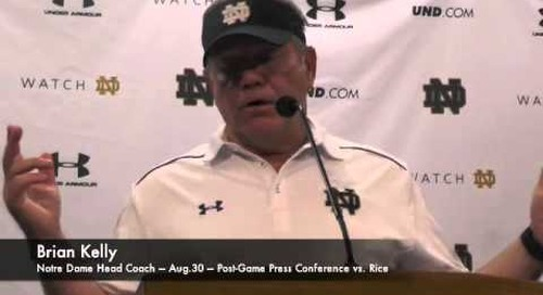 Notre Dame's Brian Kelly - vs. Rice