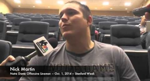 Notre Dame OL Nick Martin - 10/1/14 - Stanford