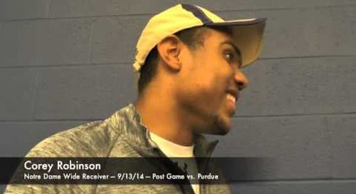 Notre Dame WR Corey Robinson After Purdue Win