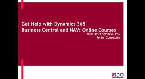 Get help with Dynamics 365 Business Central and NAV Online Courses | BDO Canada