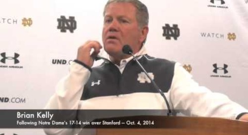 Notre Dame's Brian Kelly Discusses Win Over Stanford