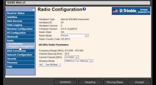 6. Trimble DPS900 V1.2 - GNSS Setup: Using Radio Corrections (450 MHz)