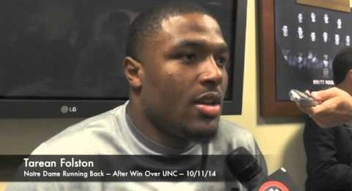 Notre Dame RB Tarean Folston - Win Over UNC - 10/11/14