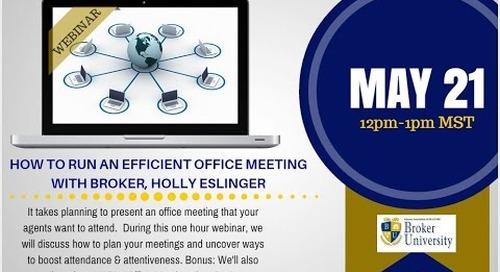 Improve Your Real Estate Brokerage Office Meetings 5.21.2015