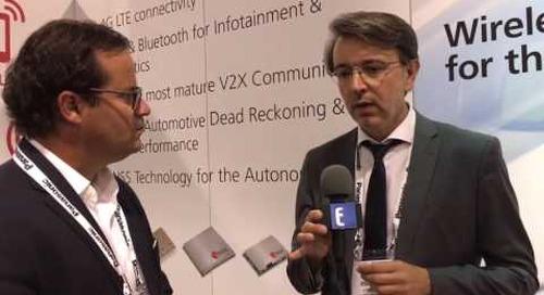 Patrick Hopper interviews u-blox at booth during TU Automotive Detroit 2016