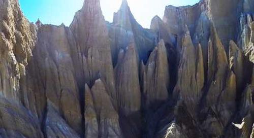 REELAIR.CO shoots Clay Cliffs near Omarama. South Island. New Zealand