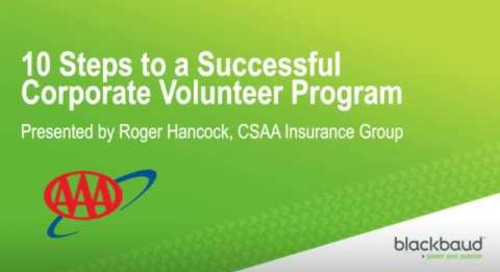 Blackbaud Webinar: 10 Steps to a Successful Corporate Volunteer Program
