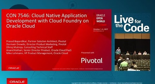 Cloud Native-Application Development with Cloud Foundry on Oracle Cloud