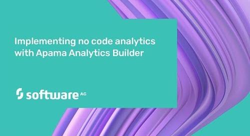 Implementing no code analytics with Apama Analytics Builder