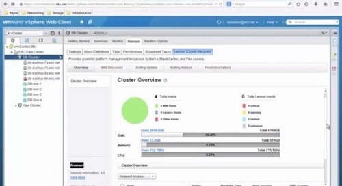 Lenovo XClarity Integrator for VMware vCenter Overview