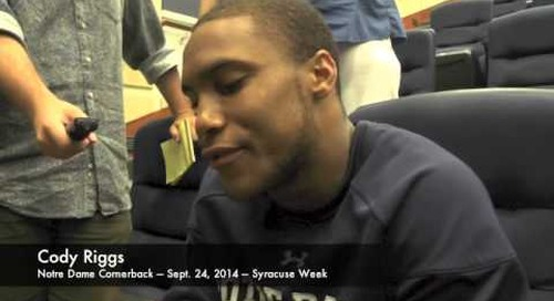 Notre Dame CB Cody Riggs - 9/24/14 - Syracuse
