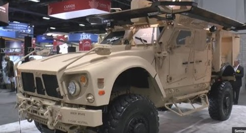 AUSA 2015: Rafael Trophy Light Active Protecion System as shown on an Oshkosh M-ATV