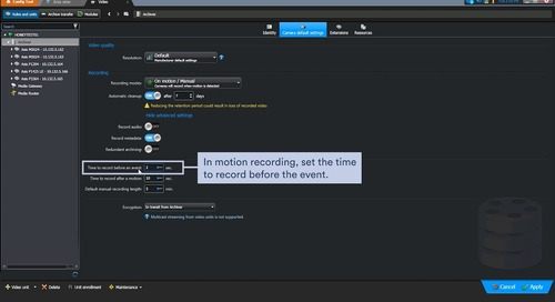 Genetec Security Center - Recording settings and stream usage