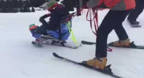 Janette carves the slopes with our Adventure Program