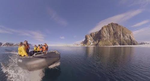 North Pole: Zodiac cruising at Franz Josef Land (360° VR)