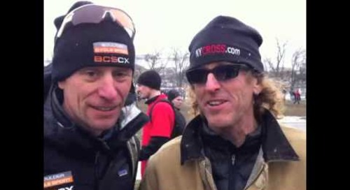 Steve Tilford with Pete Webber at Cyclocross World Championships Louisville 2013