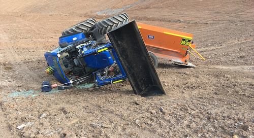 Tractor rollover during mine site rehabilitation work