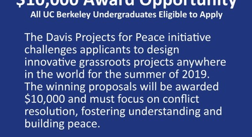Davis Projects for Peace Summer 2019 $10K Grant Opportunity