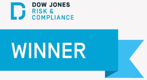 """Dow Jones wins """"Best Solution – PEPs & Sanctions Screening"""""""