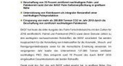 BASF veröffentlicht dritten Palm-Fortschrittsbericht
