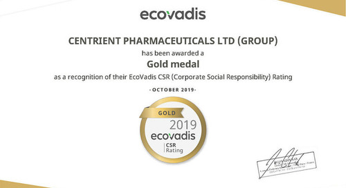 Centrient Pharmaceuticals Receives Gold Sustainability Rating from EcoVadis