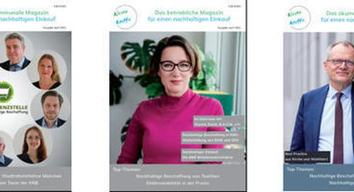 """April-Ausgaben des Magazins für nachhaltige Beschaffung """"Kleine Kniffe"""" erscheinen diese Woche mit Beiträgen von u.a. Deutsche Bahn und EcoV"""