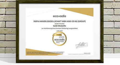 Drei Mal Gold in Folge für die igefa beim CSR-Rating von EcoVadis