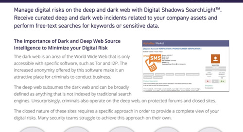 Digital Shadows Dark Web and Deep Web Intelligence Datasheet
